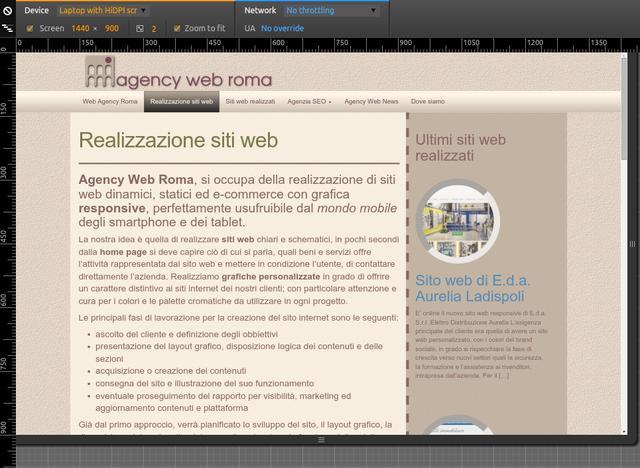 Sito web professionale responsive visto da tablet