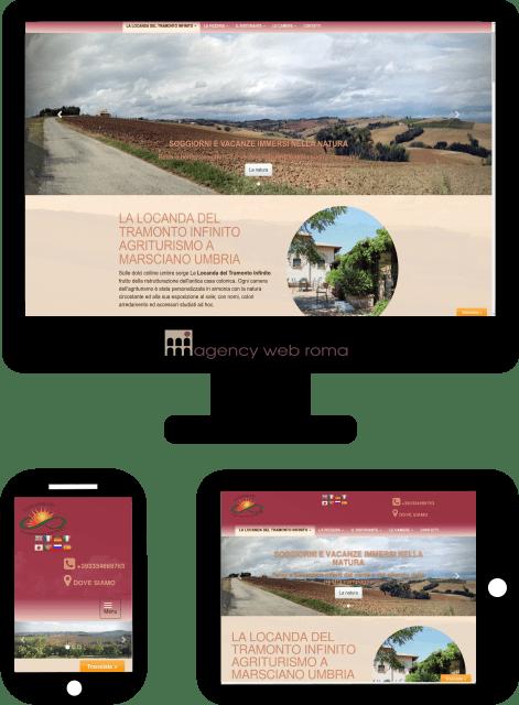 Sito web della Locanda del Tramonto Infinito in versione desktop, tablet e smartphone