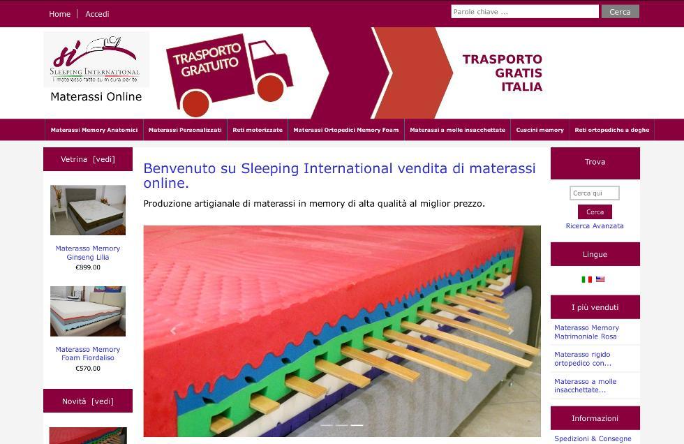 Sito e-commerce per la vendita di materassi online, realizzato da Agency Web roma