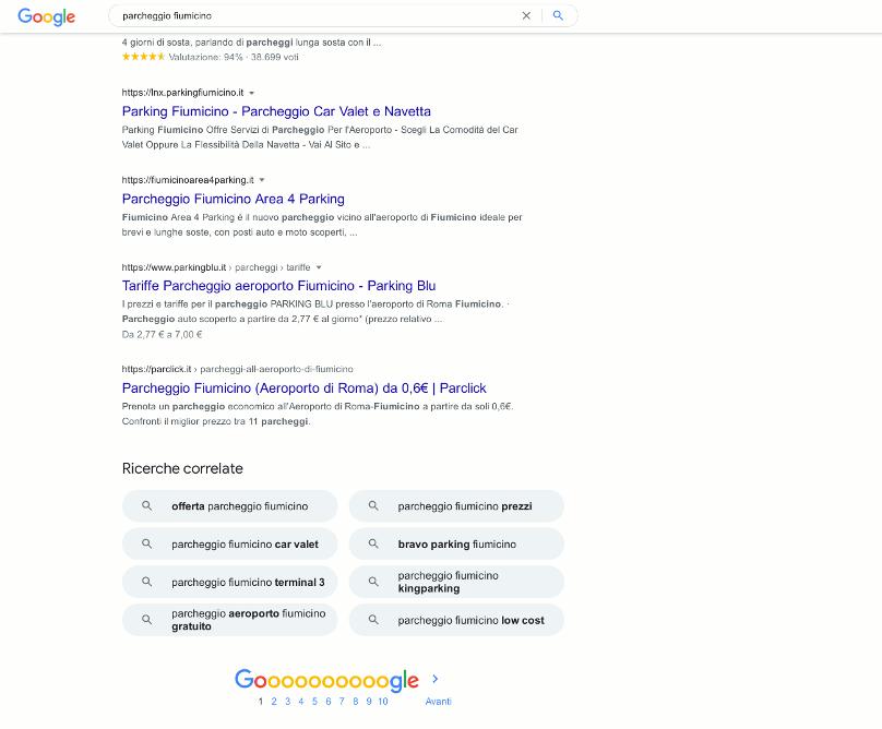 Abbiamo ottenuto la prima pagina di Google con la parola chiave Parcheggio Fiumicino